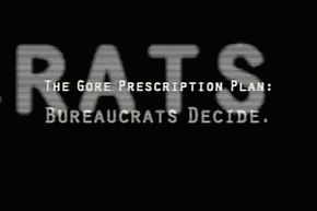 """During the 2000 U.S. presidential race. Democrats complained that this political ad subliminally flashed the word """"RATS"""" when disparaging nominee Al Gore's Medicare plan. Republicans responded that this was just the tail end of the word """"BUREAUCRATS."""""""