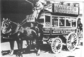 The horse-drawn omnibus was an common method of mass transit in the days before the invention of subways.