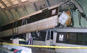 A November 2004 collision at Woodley Park-Zoo/Adams Morgan Station in Washington, D.C.