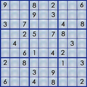 """A sudoku puzzle has some """"clues"""" filled in."""