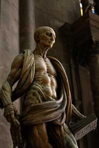 Artists often depict the martyred St. Bartholomew draped in his own flayed skin, bloodied yet unbowed.