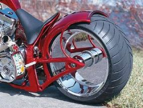 """By incorporating two functions into one piece, the rear sprocket on the Suicide Softail allows the left side of the wheel to run """"naked,"""" with nothing to obscure its dazzling chrome finish."""
