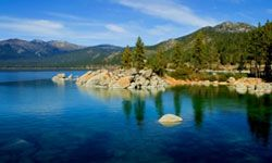 If you hike at the right spot at D.L. Bliss State Park, you may be able to see Lake Tahoe off in the distance.