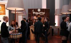 The Starbucks Frappuccino lounge at Lincoln Center during Mercedes-Benz Fashion Week in New York City.