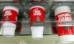 Three sizes of trouble in the calorie department (from left): 7-Eleven's Big Gulp., Super Big Gulp and Double Gulp.