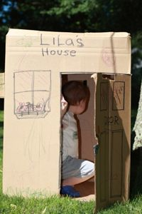 Playhouses don't have to be expensive. Even a cardboard box can become a great little backyard hiding space for your kids.