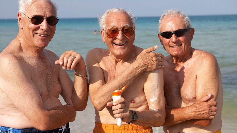 senior men with sunscreen