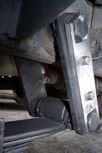 Shackle bolts lock shackle links into place between the suspension system and the vehicle or trailer.