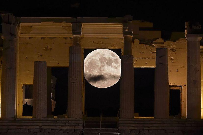 supermoon, acropolis