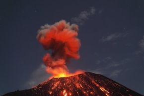 The Krakatau volcano puts on a MUCH smaller modern show than it did in 1883.