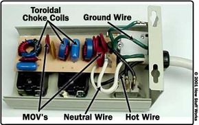 Inside a surge protector with line-conditioning chokes