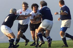 Oct. 11, 2002: Thirty years after their planed crashed, survivors from the Uruguayan rugby team Old Christians play against the veteran team Old Boys of Chile, the game the Old Christians were headed for before the accident occurred.
