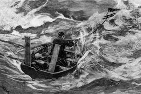 A crew member of the Mignonette uses a sea anchor in an open boat during (seriously!) stormy conditions. Original artwork: Engraving by J. Nash after sketches by Mr. Stephens, the mate of the Mignonette.
