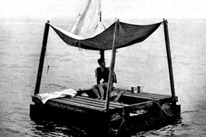 Poon Lim is shown on his raft which was rebuilt at the U.S. Navy's request for survival training in 1945.