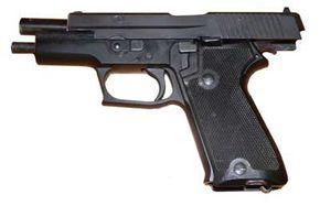 The SIG Sauer P220, a popular handgun choice among SWAT team officers.