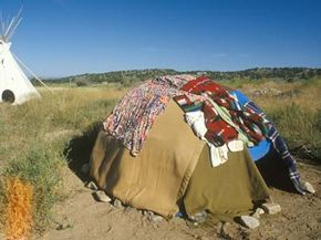 A Native American sweat lodge.