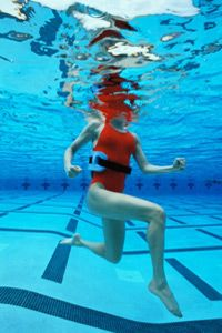 An Aquajogger makes it much easier to keep your head above water as you work out in the pool.