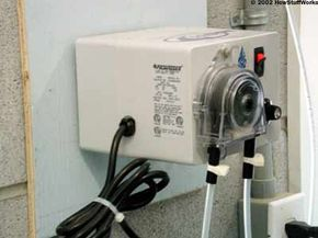 An automated chlorine feeder hooked into the pump and filter system
