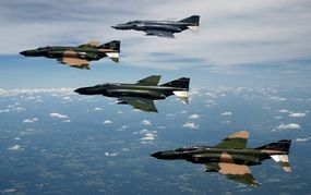 A formation of F-4 Phantom II fighter aircraft