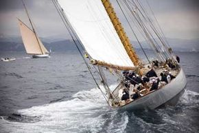 The giant 43-meter schooner Eleonora tacks upwind.
