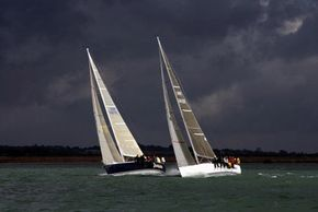 Sailors need to pay attention to the weather forecast so they don't get caught in a sudden squall. These yachts are competing in the J109 UK National Championships.