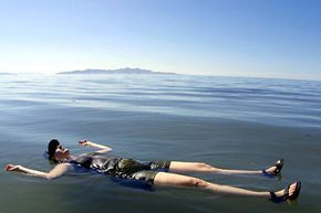 George Frey/AFP/Getty Images                              Sylvia Frost floats on the Great Salt Lake in Utah, which is five to eight times saltier than the ocean.