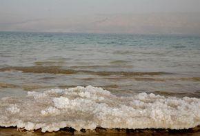 Gali Tibbon/AFP/Getty Images                              Salt deposits on the Dead Sea shoreline show its decreasing water level.