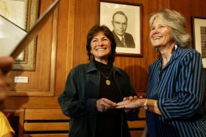 For the federal government to recognize your marriage, it has to have been performed somewhere it was legally recognized. Here, Marcia Kadish (left) and Tanya McCloskey become the first same-sex couple to be married in Cambridge, Massachusetts.
