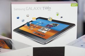 The 10.1-inch Samsung Galaxy Tablet, on display at the Union Square Best Buy in New York City in June 2011.