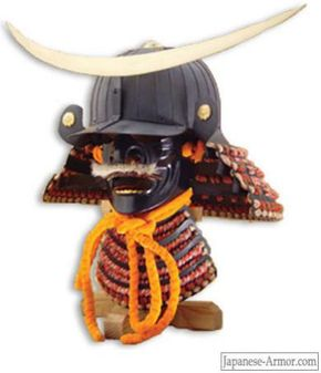 This full-sized battle helmet is an actual reproduction of the one worn by the famous daimyo Date Masamune (1566-1636).