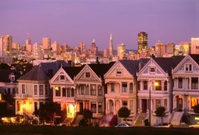 "City Skylines Image Gallery The San Francisco skyline provides a magnificent backdrop to the famous ""Six Sisters,"" a series of Victorian houses on Alamo Square. See more pictures of city skylines."