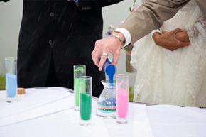 Sand ceremonies can incorporate families, friends and members of the wedding party in addition to the couple.