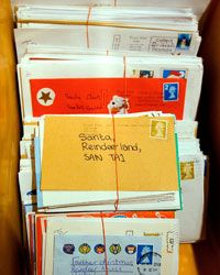 Letters addressed to Santa Claus at the post office in Lapland, Finland.