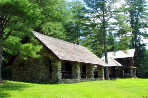 The Santanoni Preserve features numerous historic structures as well as thickly wooded wilderness.