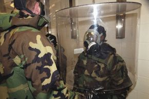 Before troops are exposed  to live Sarin & VX nerve agents, soldiers test their masks using fragrance and/or caustic agents.