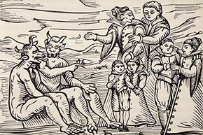 """Here we see an engraving of children initiated into satanic ritual, taken from the 1608 tome """"Compendium Maleficarum."""""""