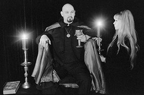 Church of Satan founder Anton LaVey indulges in a little atmospheric magic and ritual for the press on March 22, 1970.