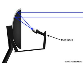 The curved dish focuses incoming radio waves onto the feed horn.