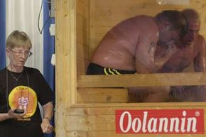 Yes, saunas are such a big deal in Finland that they even make a competition out of it. Here, competitors sweat through the final of a 2003 sauna bathing competition in the town of Heinola.