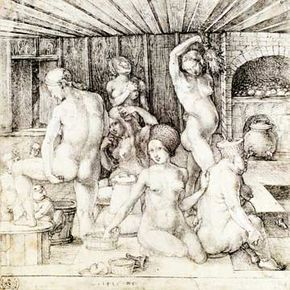 """Created in 1496, Albrecht Dürer's """"The Women's Bathhouse"""" realistically depicts the German public bath culture of the day."""