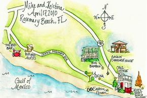 The author created these whimsical save-the-date maps for a destination wedding in Rosemary Beach, Fla.