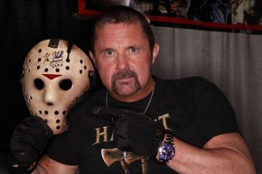"""Kane Hodder, who portrayed Jason Voorhees in four of the """"Friday the 13th"""" films, totally looks like a dog lover, doesn't he?"""