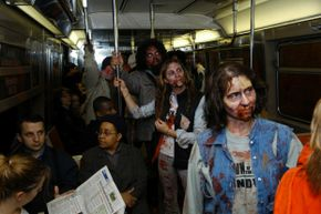 """""""Dawn of the Dead"""" zombies take over the NYC subway in 2004 in a promotional stunt for the movie. Looks like those human riders got lucky."""