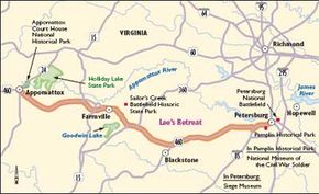 View Enlarged Image This map of Lee's Retreat will take you through the middle of Virginia along a historic Civil War route.