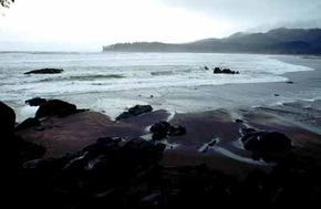 ©Byways.org This is a cobble beach seen from Strait of Juan de Fuca Highway.