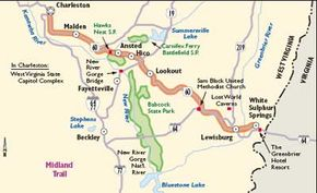 View Enlarged Image Follow this map of West Virginia's Midland Trail.