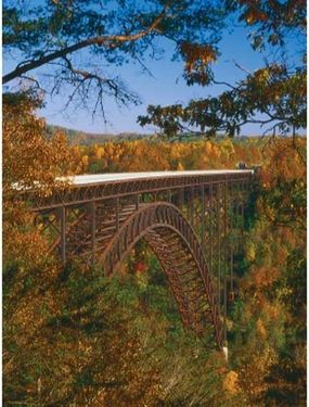 The New River Gorge Bridge is the longest single-span steel arch bridge in the Western Hemisphere.