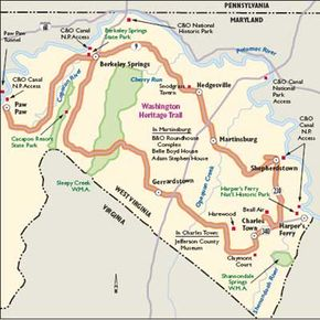 View Enlarged Image This map will take you to countless historical sites in West Virginia. The Washginton Heritage Trail also leads to many opportunities for outdoor recreation.