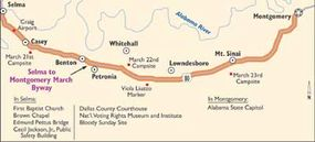 View Enlarged Image This map of the Selma to Montgomery Byway traces the route of the historic civil rights march led by Dr. Martin Luther King, Jr.