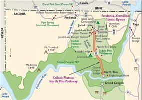 View Enlarged Image Photographers, bird-watchers, hikers, campers, and anyone else who enjoys spectacular views can use this map to reach the Kaibob Plateau-North Rim Parkway.